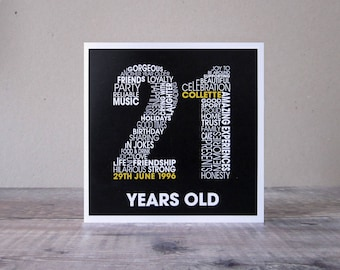 21st Birthday Personalised Card - Personalized 21st Birthday Card - Twenty First Birthday Card for Him - Personalised Birthday Card for Her