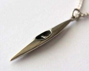 Kayak Necklace  Solid Sterling Silver Kayak Pendant Necklace Silver Kayak Jewelry 101