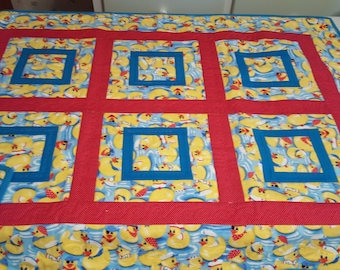 handmade rubber duck baby quilt - yellow, red and blue