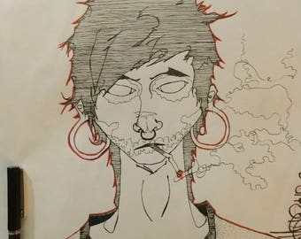 Illustrated Portrait In Ink