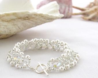 Sale - White Wedding Bracelet with Swarovski Crystal and Pearl