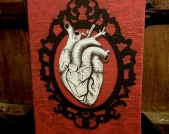 Anatomical heart notebook, A5 macabre journal, gothic notebook, Victorian gothic, Tell Tale Heart, Edgar Allan Poe, gothic stationery