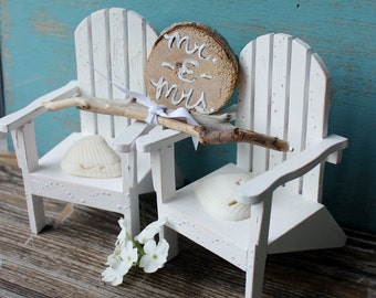 White Beach Chair Cake Topper With Driftwood Mr & Mrs , Seashells and Driftwood