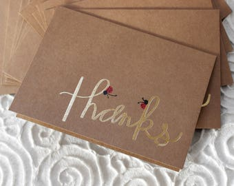 THANKS, ladybugs, thank you cards, gold foil, kraft, blank inside, set of 6