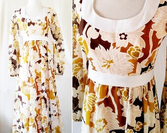 Vintage Yellow Retro Flower 70s Long Dress. Small