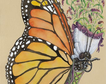 Monarch Butterfly Marie Antoinette Painting Butterfly Wall Art Monarch Butterfly Decor Buddleia Art Butterfly Bush Art Monarch Butterfly Art