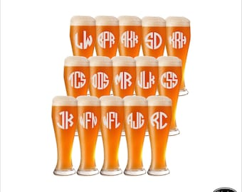 SHIPS FAST -15 Wedding Beer Glasses, Personalized Wedding Beer Glasses, Custom Wedding Beer Glasses, Pilsner Wedding Beer Glasses, Groomsmen