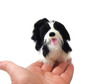 Custom Dog Sculpture - Example Needle felted Tibetan Terrier  - Staffordshire bull terrier  Art - Havanese Sculpture