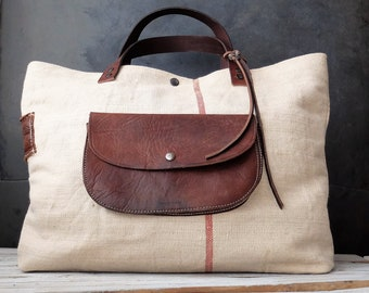 Antique Grain Sack/leather Bag leather Handles
