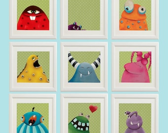 Nursery print set, Baby decor nursery art, Baby girl nursery prints, Baby boy nursery prints, Nursery art set, Baby boy nursery art, Monster