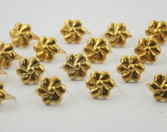 50 pcs.Dark Gold Flower Studs Punk Rock 11 mm. KSGFL11
