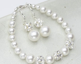 Bridal Jewelry Set, Pearl Wedding Jewelry Set, Bracelet and Earring Set, Crystal and Pearl Bridal Jewelry, White or Ivory Pearl Jewelry Set