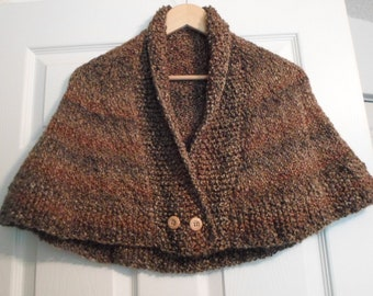 Knitted Capelet - Capelet Knitted from Self-Striping Acrylic Yarn in Brown - Size Medium for Ladies or Girls