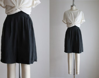 ash black silk shorts