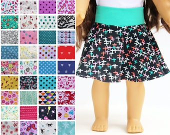 Fits like American Girl Doll Clothes - Skater Skirt, You Choose Print   18 Inch Doll Clothes