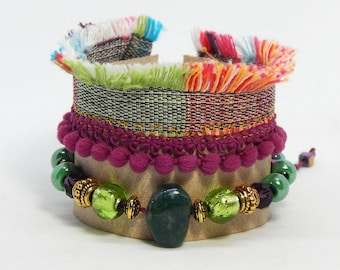 Bracelet cuff leather tassels and beads