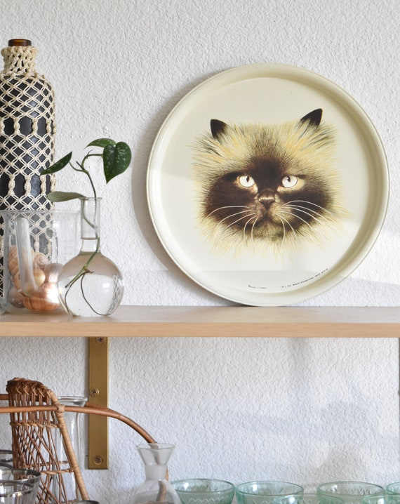 vintage massilly tin siamese cat serving tray plate | cat figurine