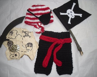 Newborn Pirate Set/ Baby Pirate/ Crochet Pirate hat