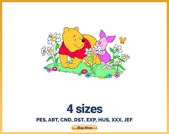 Smelling Flowers - Winnie The Pooh Logo Character Designs - 4 sizes Embroidery