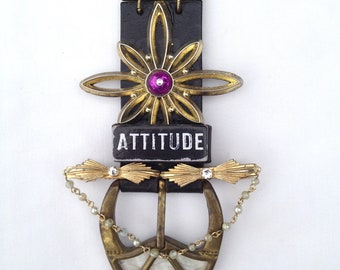 Avant Garde One of a Kind Mother of Pearl Gold/Black Leather/Velvet Assemblage Statement Necklace