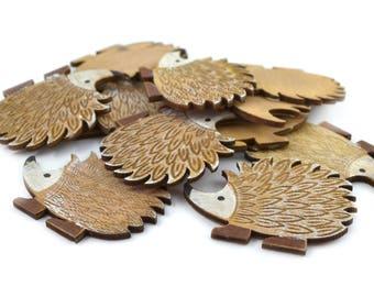 Hedgehog set of 6 wooden embellishments