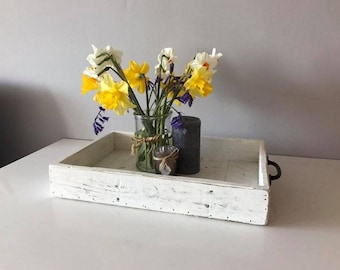 Handcrafted Distressed White Centre Piece Tray
