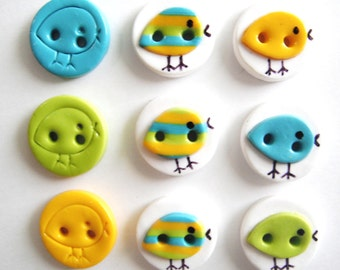 Button Stripe Birds handmade polymer clay buttons ( 9 )