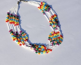 Necklace,Flower Necklace,Seedbeads Necklace,Colorful Necklace,Summer Necklace