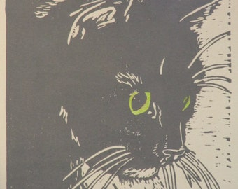 """Longhaired cat hand-colored block print - """"On watch"""""""