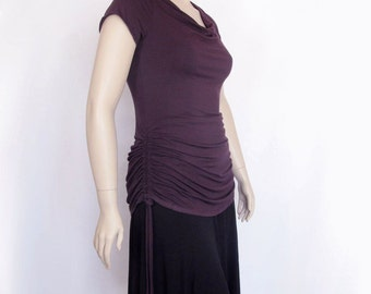 Womens Cowl Neck Shirt-Ruched Top-Adjustable Length-Hand Dyed Bamboo/Organic Cotton Jersey-Choice of Sleeve,Size and Color-XXS thru Large