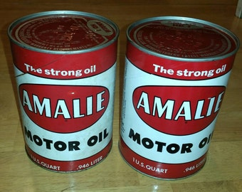 Amalie Motor Oil, Vintage Oil Cans, Advertising, 2 Full never opened, Witco Chemical NY