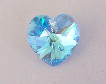 18mm Aquamarine AB Swarovski crystal heart, qty 1
