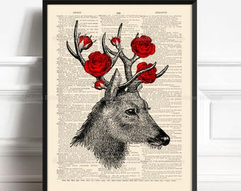 Deer Decor Sale, Rustic Woodland Art, Gift for Him to 40, Red Rose Decor, Grandmother Art Gift, Gift Woman Print, Nursery Print Deer,  376
