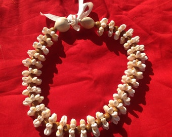 Cowrie Rosette Shells Necklace Or Chocker..Necklace For Young Children And Fit As A Chocker On Adult! For Dancers, Wedding, Luau, Gifts.