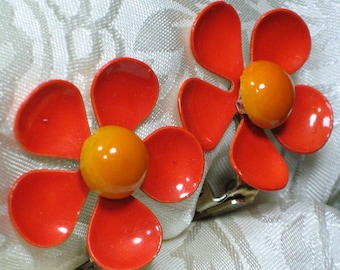 Flower Vintage Earrings Estate Jewelry Orange High Relief Enamel Yellow Statement Bloomers Mid Century Mad Men Modernist That 70's Show Pop