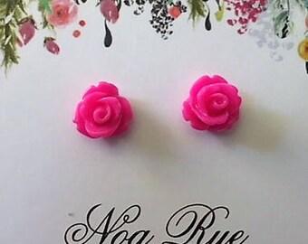 Pink Rose Resin 8mm Stud Earrings