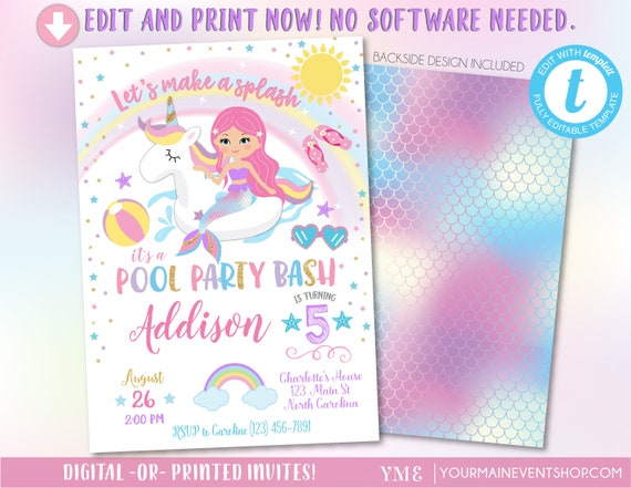 Unicorn Mermaid Pool Party Invitation, Pool Party Birthday, Unicorn Mermaid Birthday Party Invitation, Pool Party Invite