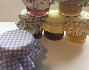 Wedding Favour Fabric Mini Jam Jar Lid Top Covers X 50 Lilac Green Jam Pot Covers Fabric Jar Covers Mini Jar Covers with twine and bands
