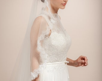 Wedding veil, bridal cap veil, Bridal Juliet veil with lace flower cathedral length veil -- Style 358
