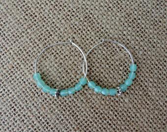 Sterling Silver Hoop Turquoise Beaded Earrings