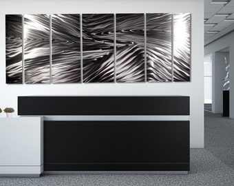 Extra Large Modern Metal Wall Art In All Silver, Contemporary Abstract Wall Sculpture, Home & Office Decor - Serengeti XL by Jon Allen