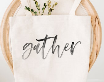Gather Reusable Grocery Bag , Farmhouse Decor, Zero Waste, Eco Friendly Produce Bags, Organic, Canvas Tote, Canvas Bag,  Grocery Tote