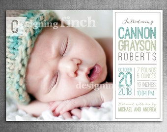 Modern Baby Girl or Boy Birth Announcement Photo Card, 5x7, Printable and Customizable #115