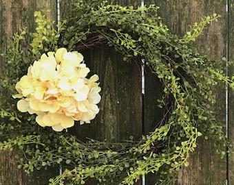 Hydrangea Wreath-Spring Wreath-Front Door Wreath-Grass Wreath-Everyday Wreath-Farmhouse Decor-Grapevine Wreath-Rustic Wreath-Greenery Wreath