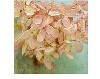 Hydrangea Print, Rustic Decor, Shabby Chic Wall Decor, Flower Art Print, Pink Mint Decor