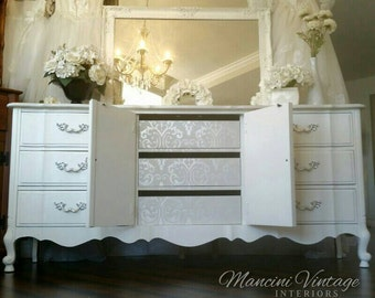 Unavailable!! Heavenly French Provincial Dresser Buffet Romantic Damask White Pearl Boudoir Glam Mirror Silver White Southern California