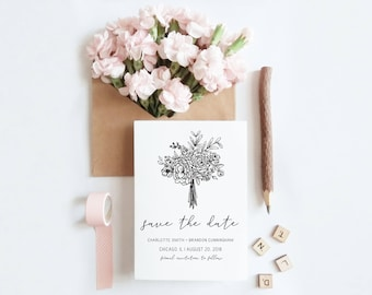 Save the Date - Wedding | Printable Save the Date | Floral Bouquet | Hand Lettered | Digital Print