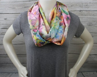 Lightweight Floral Infinity Scarf, Colorful Infinity Scarf, Colorful Floral Scarf, Colorful Loop Scarf, Gifts For Her, Gifts For Mom