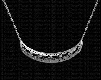 3D Basenji crescent necklace - sterling silver