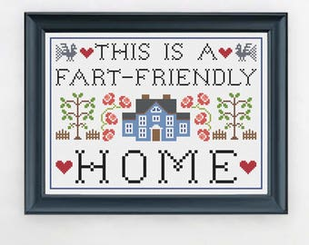 PDF ONLY This is a Fart-Friendly Home Modern Subversive Cross Stitch Template Pattern Instant PDF Download